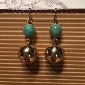 Turquoise & gold earrings NWT
